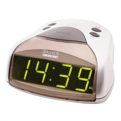 balance led wecker uhr clock digitalanzeige display gro e zahlen mm gr n silber ebay. Black Bedroom Furniture Sets. Home Design Ideas
