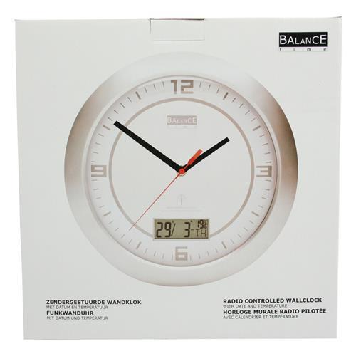 balance funkuhr wanduhr zimmeruhr analoguhr tag datum temperatur neu ebay. Black Bedroom Furniture Sets. Home Design Ideas