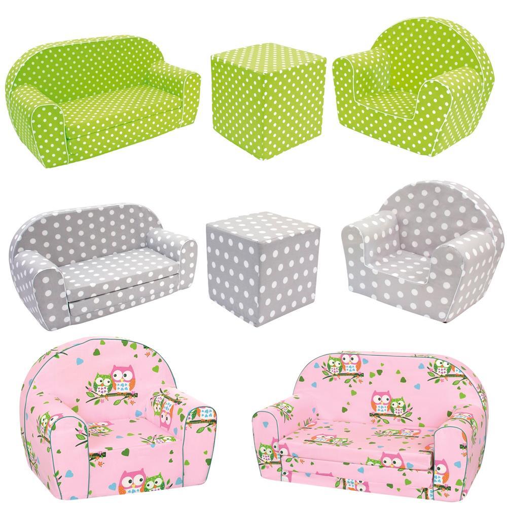 bino mertens kinder sofa sessel w rfel sitzw rfel ausklappsofa punkte eule neu ebay. Black Bedroom Furniture Sets. Home Design Ideas