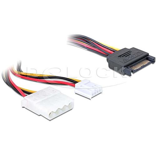 delock kabel y power sata stecker 15pin an 1x 4 pin molex 1x floppy adapter ebay. Black Bedroom Furniture Sets. Home Design Ideas