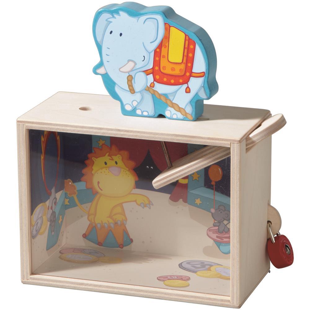 Haba-Spardosen-Sparbuechse-Kinderspardose-Gelddose-Sparschwein-Holz-Elefant-Pferd
