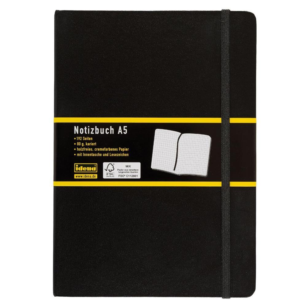 idena 209281 notizbuch din a5 192 seiten 80 g m kariert schwarz notizheft. Black Bedroom Furniture Sets. Home Design Ideas