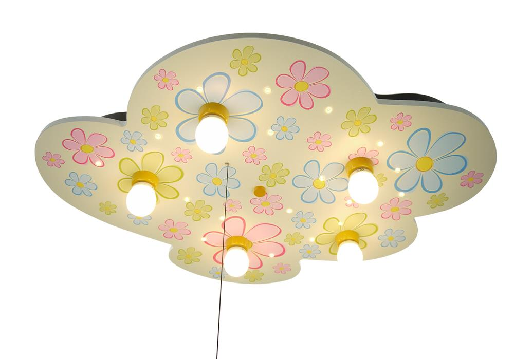 niermann standby deckenleuchte wolke bunte blumen decken leuchte lampe kinder ebay. Black Bedroom Furniture Sets. Home Design Ideas