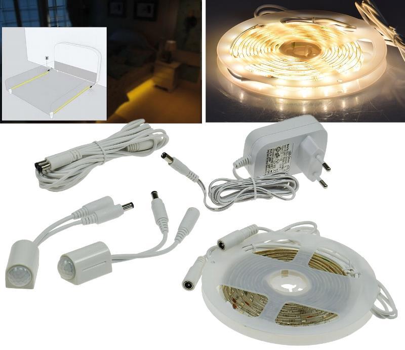 led bettenbeleuchtung mit 2 pir sensoren 2 x 1 25m l nge 75 leds neu ebay. Black Bedroom Furniture Sets. Home Design Ideas