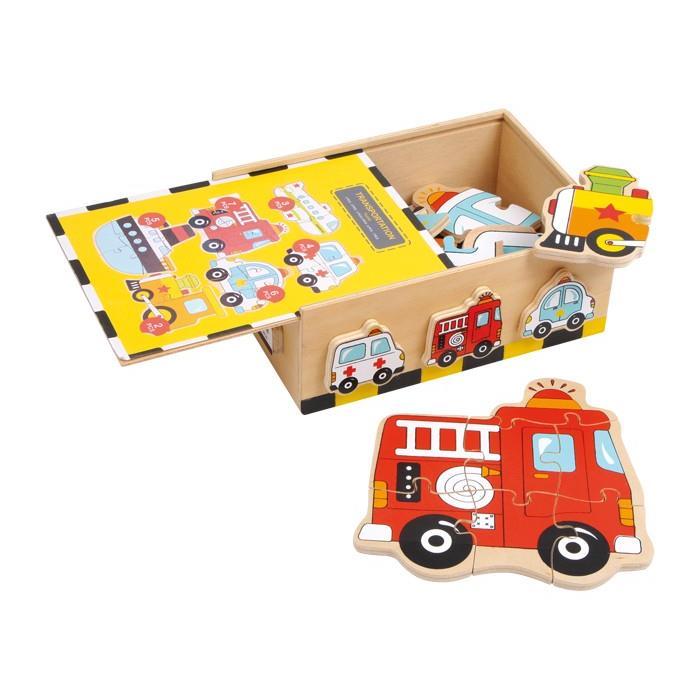 "KinderkUche Holz Ab 2 Jahren ~   Puzzle Box ""Fahrzeuge"" aus Holz ab 2 Jahren 18x15x7 cm NEU  eBay"